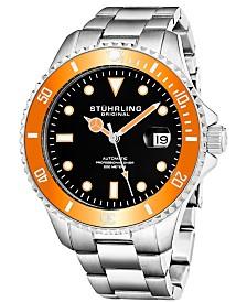 Stuhrling Men's Automatic Diver Watch, Black Dial, Orange Bezel, Silver Case, Silver Stainless Steel Bracelet