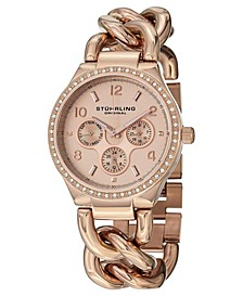 Original Stainless Steel Rose Tone Case on Chain Bracelet, Rose Tone Dial, Swarovski Crystal Studded Bezel, With Rose Tone and White Accents