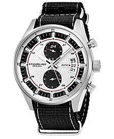 Original Men's Quartz, Silver Case, Silver Dial; Black and Grey Stripped Nylon Strap Date Dual Time Watch