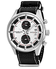 Stuhrling Original Men's Quartz, Silver Case, Silver Dial; Black and Grey Stripped Nylon Strap Date Dual Time Watch