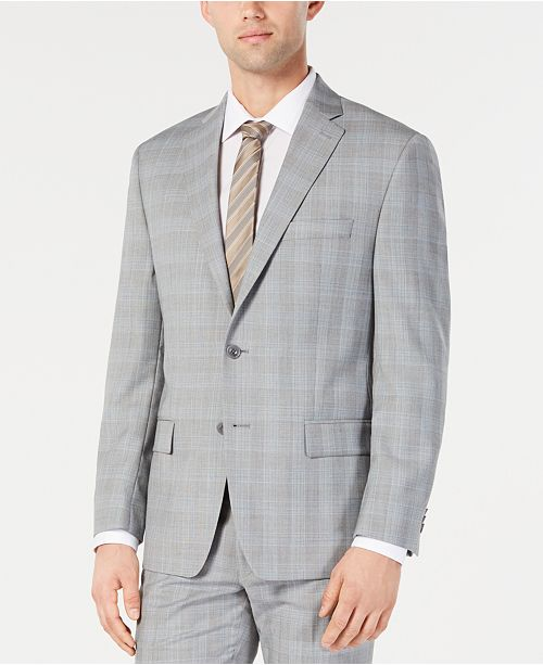 Michael Kors Men's Classic-Fit Light Gray/Light Blue Plaid Suit Jacket