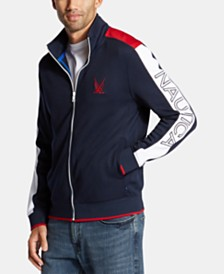 Nautica Men's Blue Sail Colorblocked Logo Track Jacket, Created for Macy's