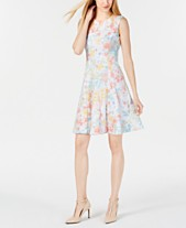 2ee5aa534a Calvin Klein Sleeveless Printed Fit   Flare Dress