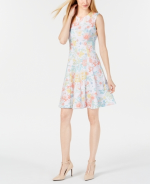 Calvin Klein Dresses SLEEVELESS PRINTED FIT & FLARE DRESS