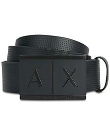 Embossed Leather AX Logo Belt