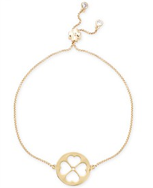 kate spade new york Gold-Tone Clover Pendant Slider Bracelet