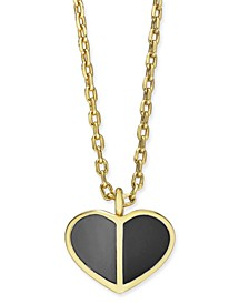 "Gold-Tone Enamel Heart Pendant Necklace, 16"" + 3"" extender"