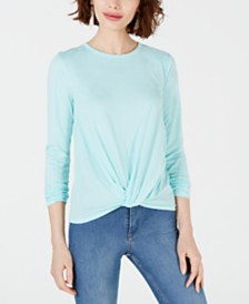 Maison Jules Striped Knot-Front Top, Created for Macy's
