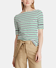 Lauren Ralph Lauren Cropped Striped Stretch Top