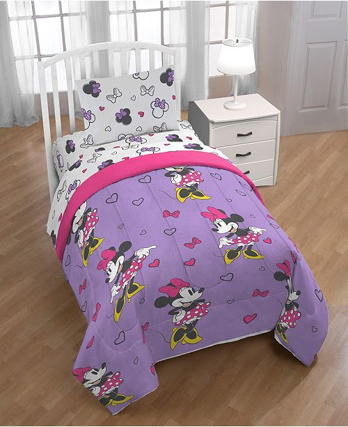 Disney Minnie Mouse Purple Love Twin Comforter