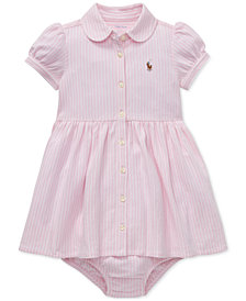 Polo Ralph Lauren Baby Girls Striped Knit Oxford Dress