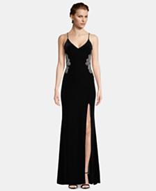 63696c5840724 Betsy   Adam Embellished Velvet Slit Gown