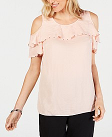Petite Studded Ruffle Cold-Shoulder Top, Created for Macy's