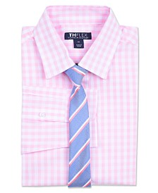 Tommy Hilfiger Big Boys Sailor Gingham Shirt & Striped Necktie Set