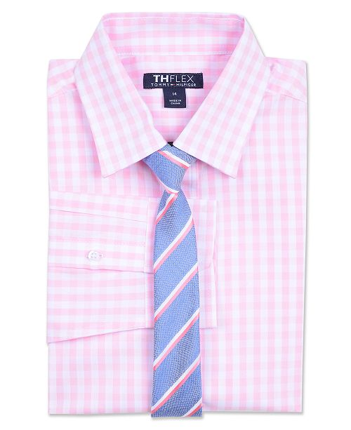 721e79d73e45 ... Tommy Hilfiger Big Boys Sailor Gingham Shirt & Striped Necktie ...