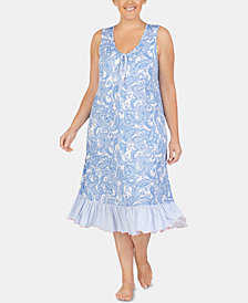 Ellen Tracy Plus-Size Printed Ruffled Hem Knit Nightgown