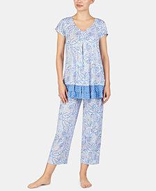 Ellen Tracy Printed Ruffled Hem Knit Pajama Top