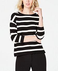 Anne Klein Striped 3/4-Sleeve Sweater