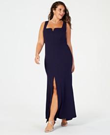Betsy & Adam Plus Size Front-Slit Crepe Gown