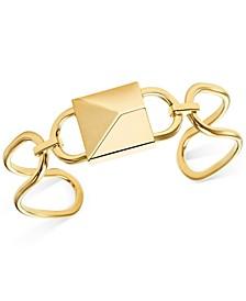 Gold-Tone Sterling Silver Padlock Cuff Bracelet