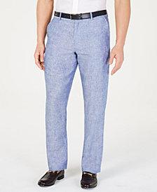 Tasso Elba Men's Flat-Front Linen Pants, Created for Macy's