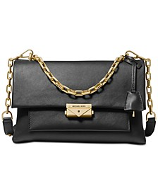Cece Polished Leather Chain Shoulder Bag