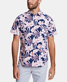 Nautica Men's Blue Sail Classic-Fit Performance Stretch Floral Shirt, Created for Macy's