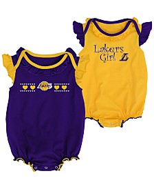 Outerstuff Los Angeles Lakers Creepers 2 Pack Set, Infants (0-9 Months)