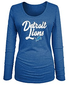 5th & Ocean Women's Detroit Lions Long Sleeve Triblend Foil T-Shirt