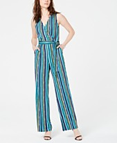 58ac2c2f407 NY Collection Petite Belted Stripe Jumpsuit