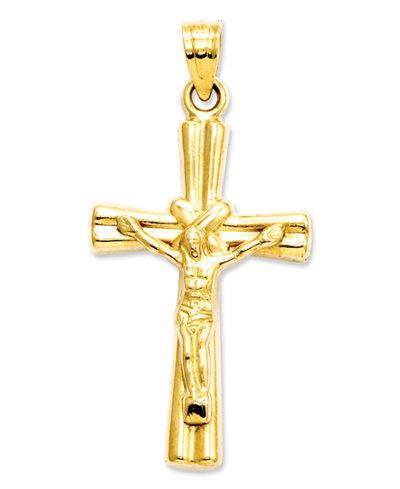 14k Gold Charm, Reversible Crucifix Cross Charm