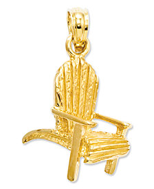 14k Gold Charm, Adirondack Beach Chair Charm