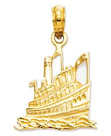 14k Gold Charm, Cruise Ship Charm