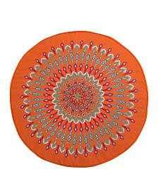 Levtex Home Mirage Orange Peacock Round Pillow