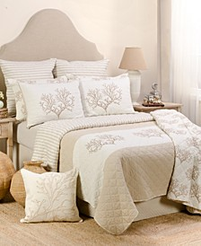 Home Coral Embroidered Gold Twin Quilt Set
