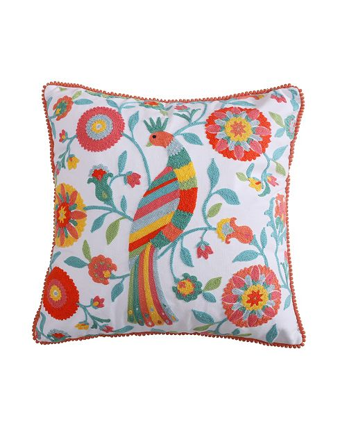 Levtex Home Laurel Coral Sunshine Happy Pillow