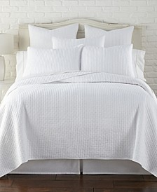 Home Cross Stitch Bright White King Quilt Set