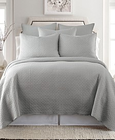 Home Cross Stitch Light Gray Full/Queen Quilt Set