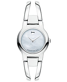 Movado Women's Swiss Amorosa Stainless Steel Bangle Bracelet Watch 24mm 0606538