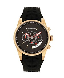 Morphic Quartz M72 Series, MPH7203, Black/Gold Chronograph Silicone Watch 43MM