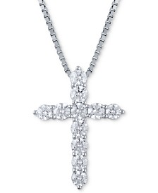 Macy's Star Signature Certified Diamond (2 ct. t.w.) Cross Pendant Necklace in 14k White Gold