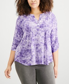 NY Collection Plus Size Pleated Utility Top