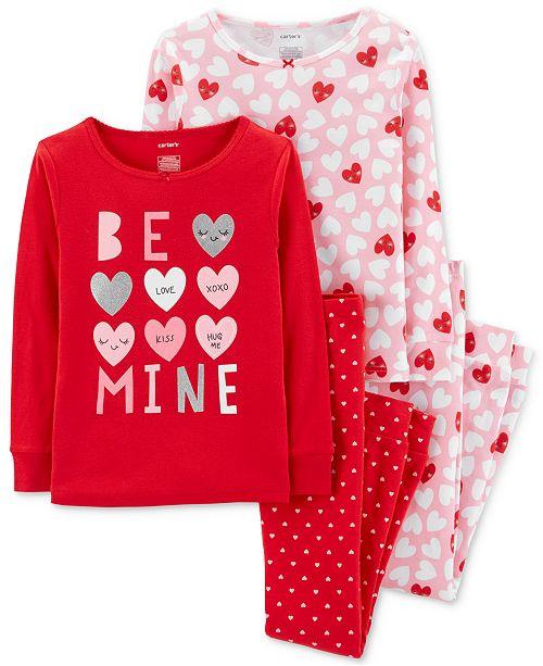 122b12ba61f8 Carter s Little Girls 4-Pc. Heart-Print Cotton Pajamas Set   Reviews ...