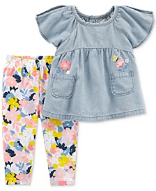 Baby Girls 2-Pc. Chambray Tunic & Floral-Print Leggings Set