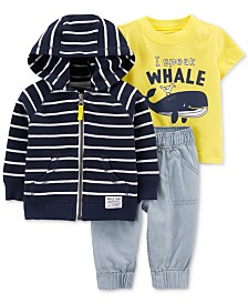 Carter's Baby Boys 3-Pc. Whale Graphic Cotton T-Shirt, Striped Hoodie & Jogger Pants Set