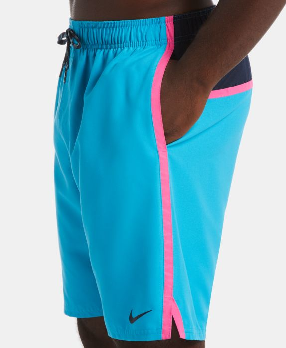 "Nike Mens Diverge Perforated Colorblocked 9"" Swim Trunks, Blue, Size: M"