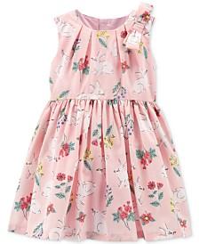 Carter's Baby Girls Bunny-Print Bow Dress