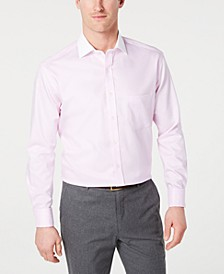 Men's Classic/Regular-Fit Non-Iron Supima Cotton Small Herringbone French Cuff Dress Shirt, Created for Macy's
