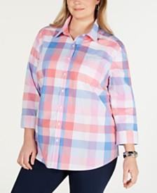 Karen Scott Plus Size Cotton Plaid Shirt, Created for Macy's