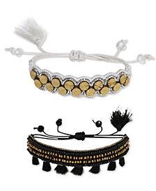 Deepa Two-Tone 2-Pc. Set Bead & Tassel Friendship Slider Bracelets